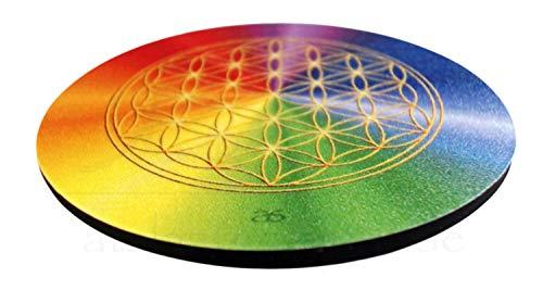 atalantes spirit Blume des Lebens Untersetzer - Set 6 Stück für Gläser - Farbe Rainbow, Größe 9,5cm, Lebensblume alle Chakren