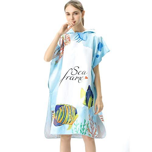 ZHJC Poncho de Surf para Hombre Y Mujer Vestir Adultos con Capucha Albornoz Capa Playa de la impresión de Secado rápido Mantón Albornoz para un Cambio Fácil en Público (Color : 3, Size : One Size)