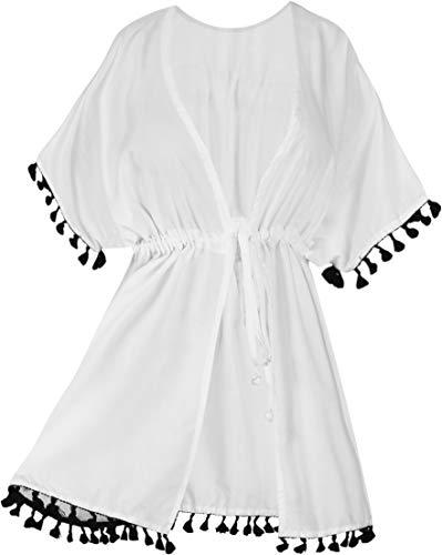 LA LEELA Cosplay Disfraces De Fiesta De Halloween Mujeres rayón Praia de Encaje Corto Kimono Cardigan Ganchillo de La Vendimia Borlas Mini Vestido Exóticas Protector Solar Ropa de Playa Blanco_B55