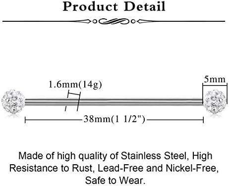 AceFun Acero quirúrgico 14G Piercing Industriale Bananabells para Mujeres Hombres cartílago Piercing joyería 38mm 8-9pcs