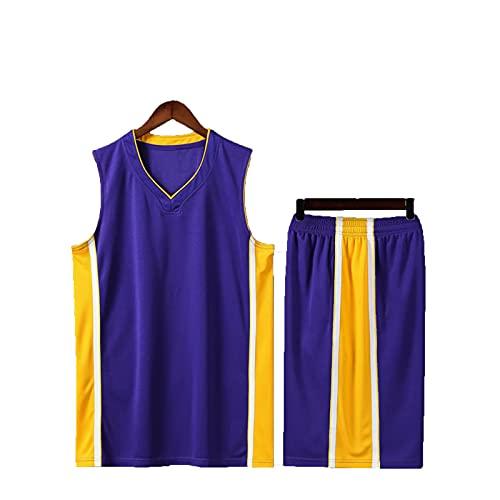 SJWJ Conjunto de Camiseta de Baloncesto Camiseta de Baloncesto para niños y niñas, Conjunto de Chaleco Transpirable + Pantalones Cortos para niños,Púrpura,3XS
