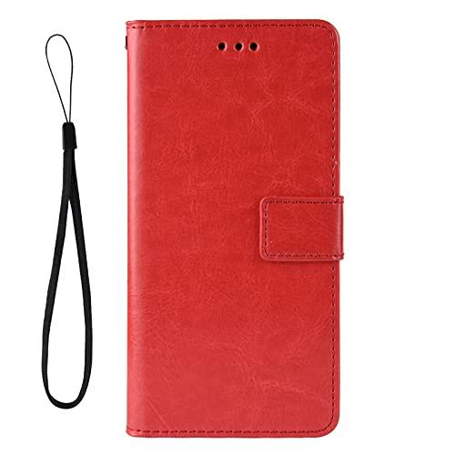 Funda para Xiaomi Black Shark 4, Soporte Plegable, Ranura para Tarjeta, Funda Tapa Libro Flip Phone Cover Case para Xiaomi Black Shark 4, Rojo