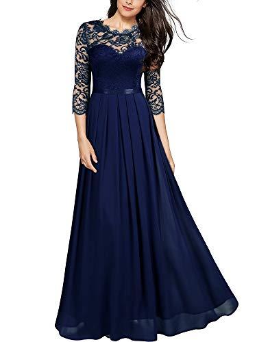 MIUSOL Damen Elegant Halbarm Rundhals Vintage Spitzenkleid Hochzeit Chiffon Faltenrock Langes Kleid Navy Blau L
