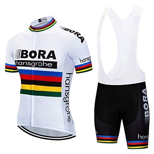 SUHINFE Traje Ciclismo Hombre para Verano, Ciclismo Maillot y Culotte Ciclismo Culote Bicicleta con 5D Gel Pad para Deportes al Aire Libre Ciclo Bicicleta, BOR-White, L