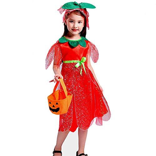 QSEFT Costume Di Fata Dei Fiori Per Bambini Costume Di Fata Dei Fiori Per Le Principesse Bella Ragazza Con I Regali Di Compleanno Costume Da Elfo Con Costumi Di Scena,110Cm