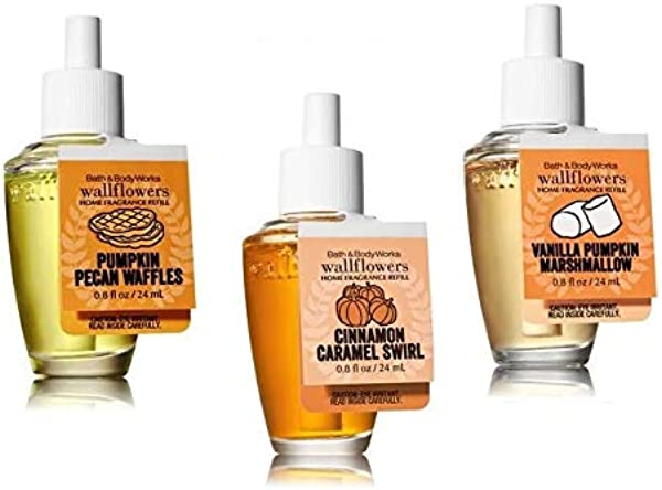 Bath And Body Works Fall Treats Wallflower Trio Pumpkin Pecan Waffles Vanilla Pumpkin Marshmallow Cinnamon Caramel Swirl