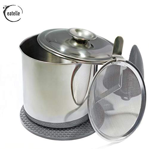 Cooking Oil Container and Bacon Grease Keeper with Strainer, Stainless Steel Oil Storage Can - Fat Jar 1.25 Quart - 5 Cups, Traditional Holder and Oil Separator + Gray Silicone Mitt and Mat…