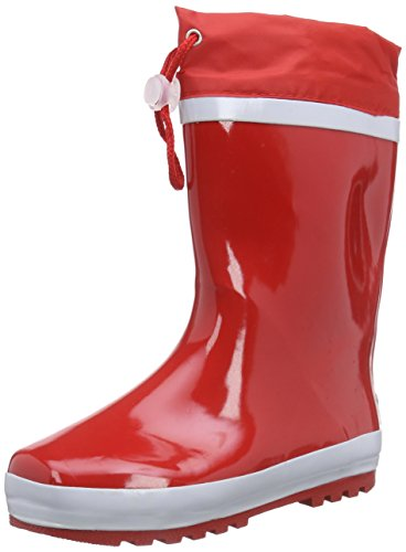Playshoes Stivaletti da Pioggia Caldi Basic, Stivali in Gomma con Fodera Calda Unisex – Bambini, Rosso Rot 8, 34 EU