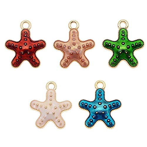 50PCS Enamel Starfish Charms Pendant for Jewelry Making Bracelet Necklace Craft DIY Accessories