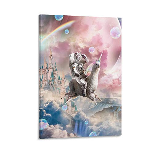 Animal Castle in The Sky Astronaut Sloth Llama Art Poster Canvas Art Poster and Wall Art Picture Print Modern Family Bedroom Decor Posters 20x30inch(50x75cm)