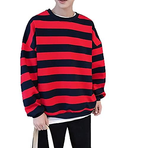 Hombres Rayas Sudaderas Primavera Otoño Moda Mens Sudaderas Hombre Pareja Suelta, rosso, XXL