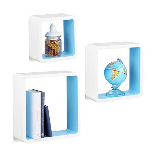 Relaxdays Hängeregal Cube 3er Set, Wandboard freischwebend, Wandregal Holz, quadratisch, schmal, MDF, Würfel, weiß/blau