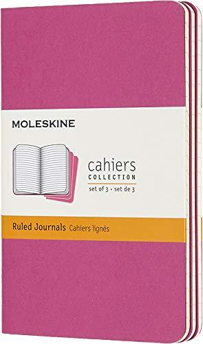 Moleskine - Cahier Journal Cuaderno de Notas, Set de 3 Cuadernos con Páginas, Tapa de Cartón y Cosido de Algodón Visible, Color Rosa Cinética