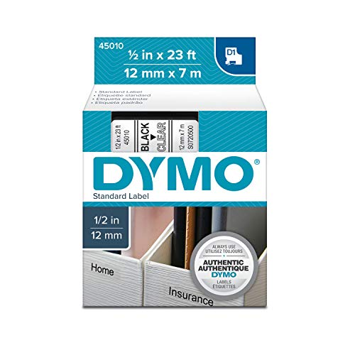 DYMO Authentic D1 Label Cassette, Black Print on Clear Tape, 1/2 Inch x 23 Feet (Pack of 1)