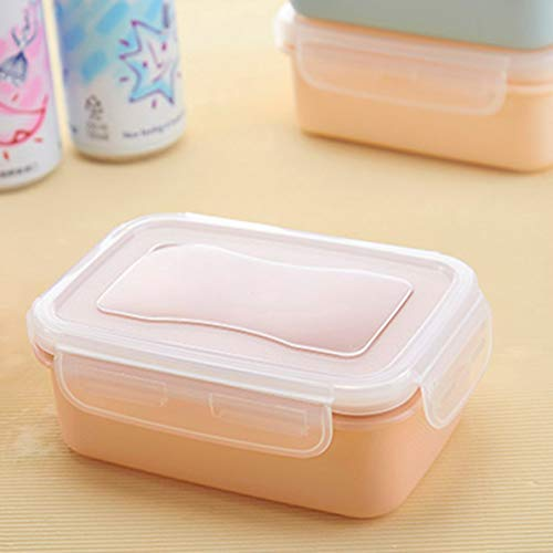Sunnyflowk Mini Portable Refrigerator Fresh Box Snack Box with Lid Food Container Kitchen Dining Tableware for Work Travel(Pink(Square))