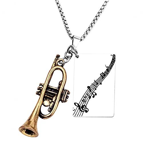 SOTUVO Collar Wish Horn Instrumento Musical Música Creativa Aleación Moda Collar con Colgante pequeño para Mujeres Hombres Regalo