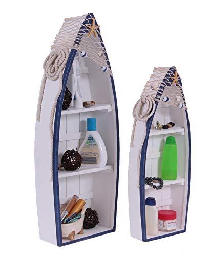 AAF Nommel Bootsregal 2'er Set im Maritim Mediterran Look mit je 2 Einlegeböden zum Stellen oder Hängen, Nr 059