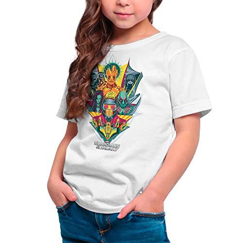 Camiseta Niña - Unisex Superhéroes, Cine y Cómic Guardianes de la Galaxia (Blanco, 5 años)