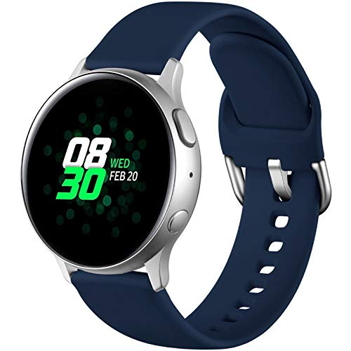 Dirrelo Sportarmband Kompatibel mit Samsung Galaxy Watch Active/Active 2 40mm/44mm, Wasserdicht Silikon Ersatzband Uhrenarmband für Galaxy Watch 3 41mm/Galaxy Watch 42mm/Gear Sport, Navy Blau S