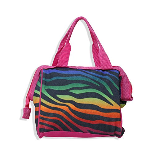 Insulated Lunch Box and Cooler Bag By Exultimate, Reusable Polyester Fabric Lunch Tote Bag with Wide Opening Compartment, Lunch Box Bag in Colorful Zebra Pattern