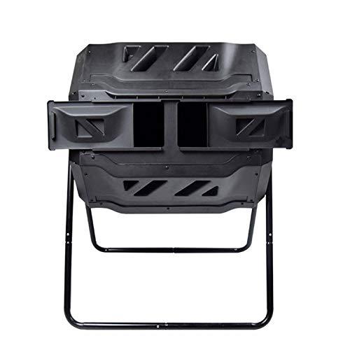JFF Tumbling Composter Cubo De Compostaje De Lote Giratorio Doble 160L Negro