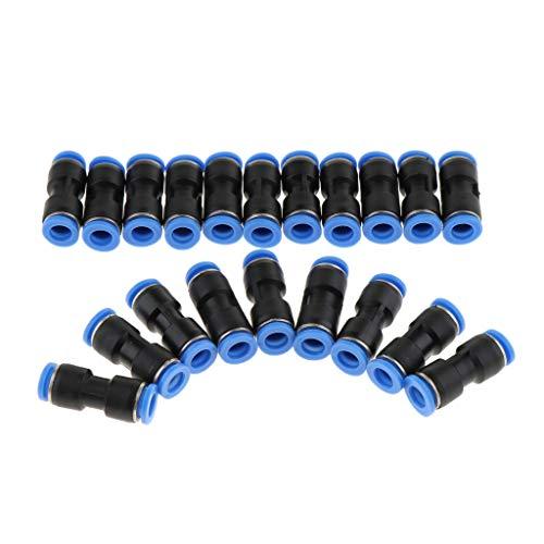 10x Heavy-Duty Push-In Fitting Steckverbinder Pneumatik-gerade Stecker Luftschlauch Verbinder 4mm-16mm - Schwarz 4mm