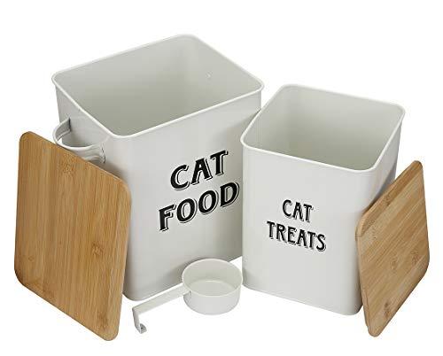 MOREZI Juego de recipientes para comida y refrigerios para mascotas, con cuchara y tapa hermética, mantiene la comida fresca, frasco de almacenamiento de comida para gatos-Blanco