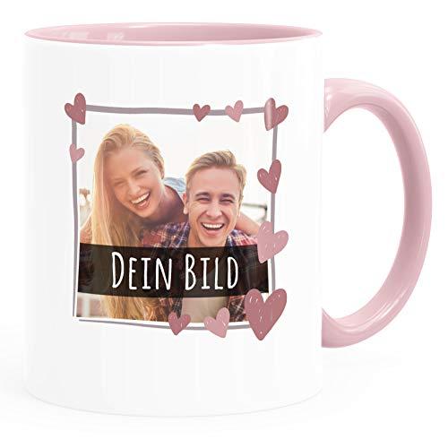 SpecialMe® personalisierte Fototasse mit eigenem Foto persönliches Geschenk mit Bild selbst gestalten Rahmen Herz Anker Herz inner-rosa Keramik-Tasse
