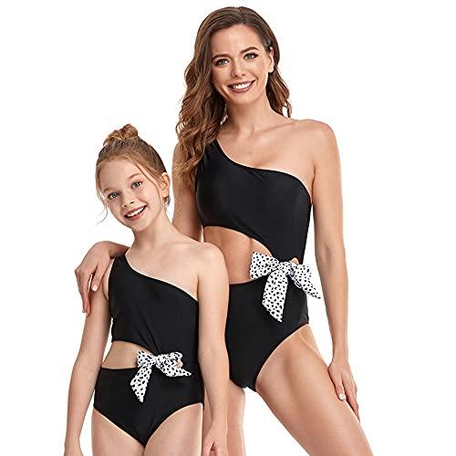 Bonfor Bikini Niña 2-12 años & Bikinis Mujer 2021 Brasileños Braga Alta Marca Hombro Oblicuo - Ropa de Baño Madre e Hija, Tajes de Baño de Dos Piezas (Negro, L)