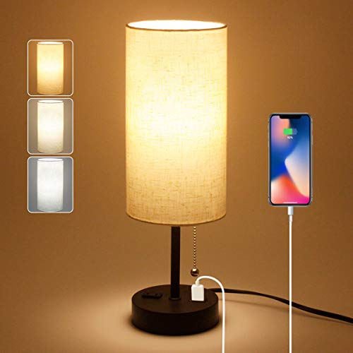USB Bedside Table Lamp, 2700K 4000k 5000K Nightstand Lamp with Pull Chain, Bedside Lamp with USB Port & AC Outlet, Table Lamps for Bedrooms Living Room, Bulb Included, Fabric Linen Lamp Shade, 1PK