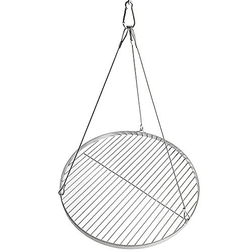 DRULINE- Grillrost Edelstahl rund. Grillrost mit Seilaufhängung für Schwenkgrill in verschiedenen Größen.