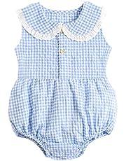 القطن الطفل بنات داخلية بلا أكمام الصيف ملابس الطفل لطيف منقوشة الأميرة رومبير لطفل فتاة الحلو اللون (Color : BRS1057 BL, Kid Size : 2-3T)