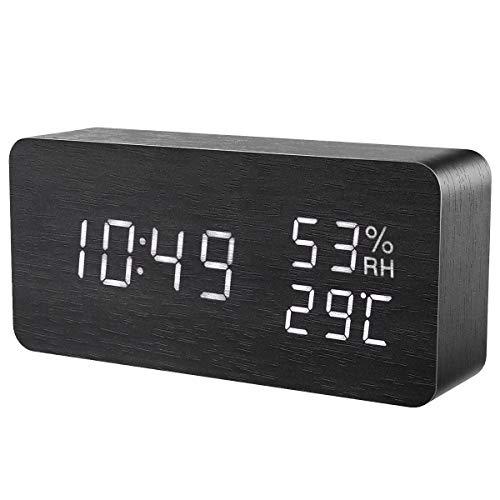 ORIA Reloj Digital Despertador de Madera, Digital Alarma Despertador con Tiempo Fecha y Año, Temperatura Humedad, 3 Grupos de Hora de Alarma, Control de Sonido y LED Brillo de Pantalla de 3 Niveles