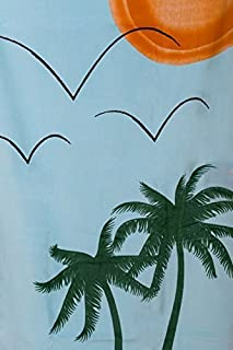Sand Secured Outdoor Towel Set: One(1) Starfish Design & One(1) Palm Tree Design, 2 Piece