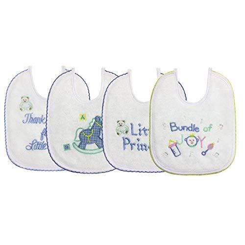 Baberos para bebés recién nacidos 4pcs / set algodón bordado impermeable Saliva Toalla Bandana Bufanda Delantal para bebés para accesorios de alimentación para bebés, 17002-5-6-8, Talla única