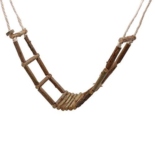 Handgefertigte Vogelleiter für Wellensittich &. Co aus frischem Naturholz | Die Leiter BZW. Hängebrücke ist 80 cm lang und perfekt für den Vogelkäfig geeignet