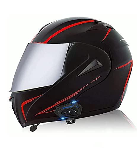 WANGFENG Motocross Bluetooth casco Flip Up doble visera modular delantera...