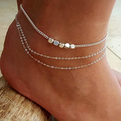 Edary Boho a strati con cavigliera in argento cubo braccialetto alla caviglia gioielli piede spiaggia per donne e ragazze