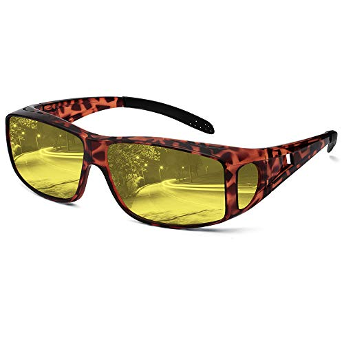 Night Driving Glasses Fit Over Glasses, Anti-glare Polarized Night Vision Glasses Oversized Wrap-around TR90 Frame