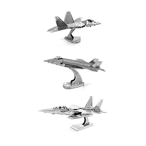 Metal Earth 3D Model Kits Set of 3: F-22 Raptor -...