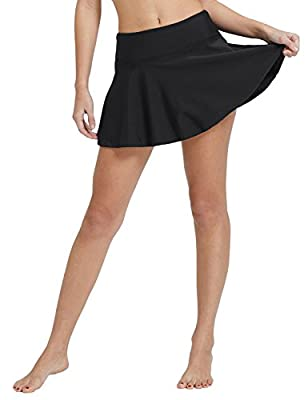 "BALEAF Women's Swim Skirt Tummy Control 3.94"" High Waisted Flounce Swimming Skort Bikini Bottom Tankini Swimsuit Black XL"