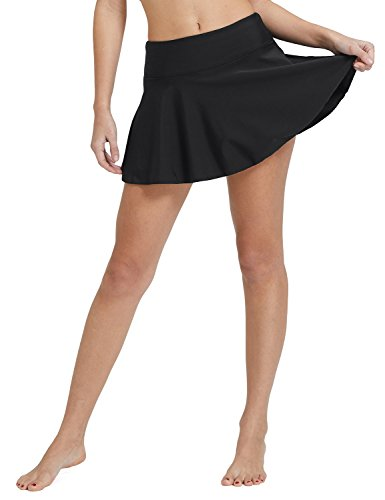 BALEAF Women's Swim Skirt High Waisted Flounce Swimming Skort Bikini Bottom Tankini Swimsuit Black M