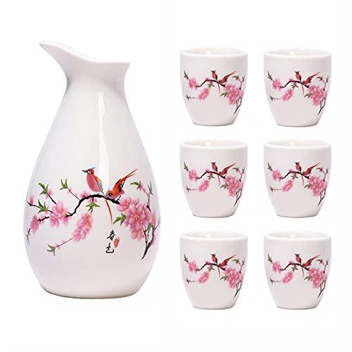 Juego De Sake De Cerámica Japonés, Juego De Sake Japonés Incluye 1 Botella De Tokkuri Blanca Y 6 Tazas, Flores De Flores De Pájaro Y Durazno
