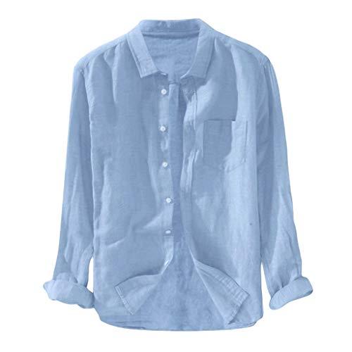 Yowablo Herren Langarm Hemden Freizeit Shirts Regular Fit Hemden Baggy Solid Cotton Leinen Langarm Button Pocket Plus Size T-Shirts (XL,3Blau)