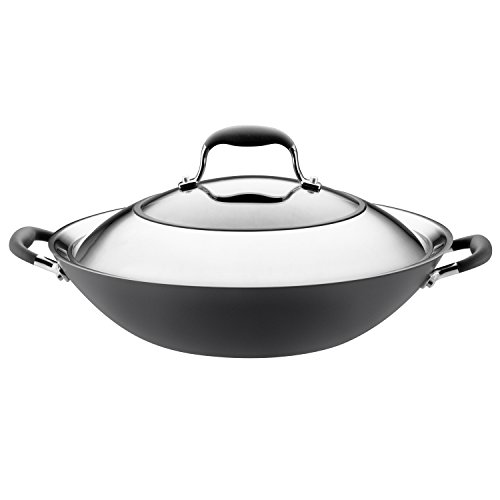 Anolon 81987 Advanced Hard Anodized Nonstick Stir Fry Wok Pan with Lid, 14 Inch, Gray