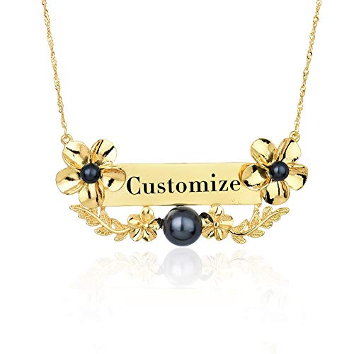 VAWAA Custom Frangipani Necklace Personalized Name Necklaces Jewelry Hawaiian Nameplate Chain Choker for Women Party Gifts