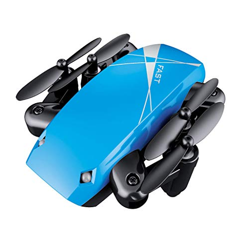 BJJH Mini opvouwbare drone speelgoed Helikopter Radiografische afstandsbediening Vliegtuigen Opvouwbare RC Quadcopter Pocket Drone (Blauw)
