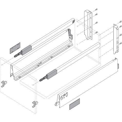 Blum Tandembox antaro D-Reling Schubladenschienen-Set | 1 Paar, 30kg 400mm | Vollauszug Blumotion, seidenweiß