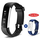 HolyHigh 115U Smart Fitness Band, Waterproof Fitness Tracker Watch for Men Women Kids Step Counter Claroie Counter Messages Call Alarm Reminder Cameral Shoot (New Black)