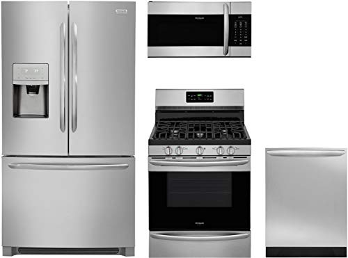"Frigidaire 4 Piece Kitchen Appliance Package with FGHD2368TF 36"" French Door Refrigerator FGGF3036TF 30"" Gas Range FGMV176NTF 30"" Over the Range Microwave and FGID2466QF 24"" Built In Dishwasher in Stainless Steel"